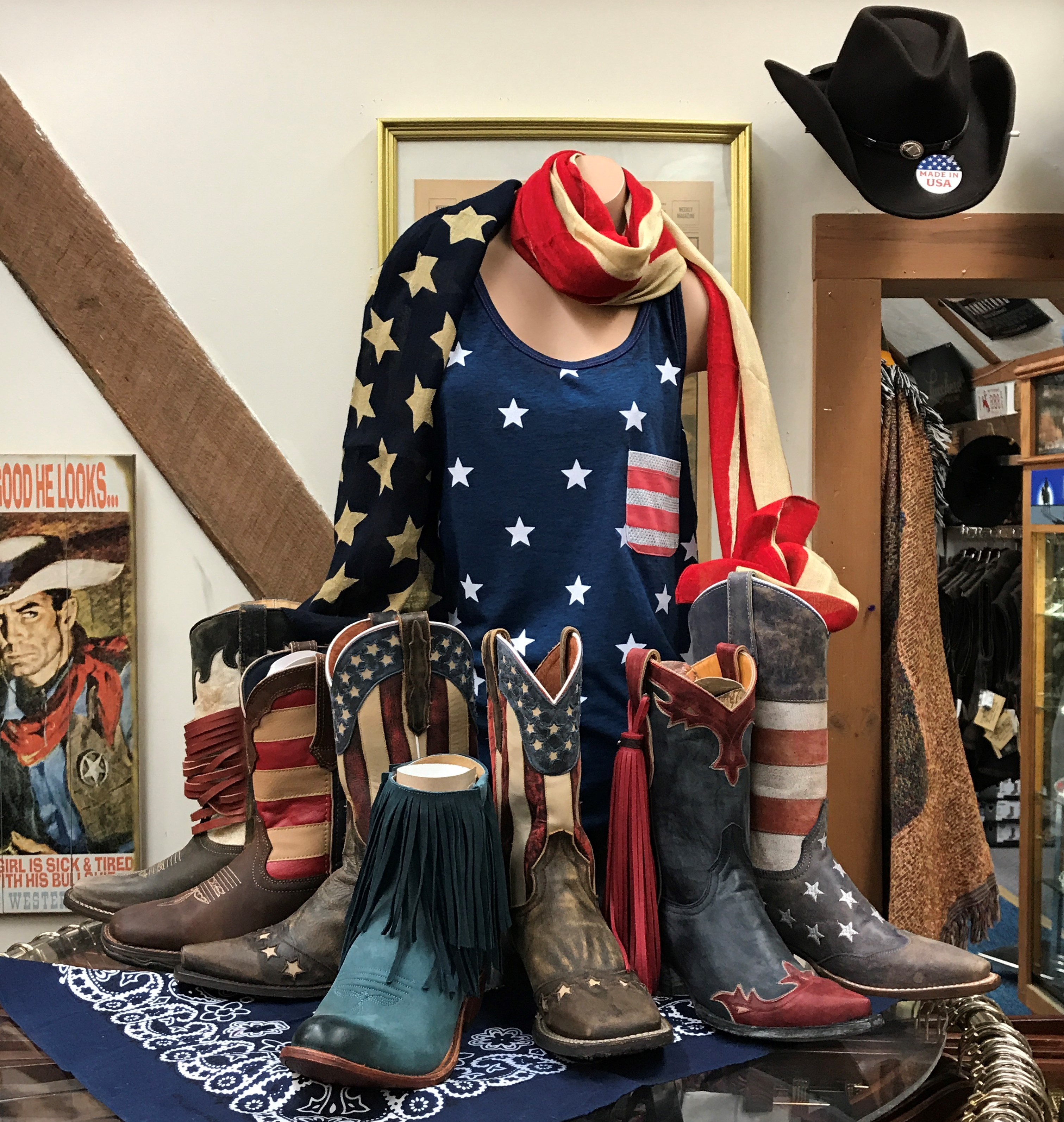 What s more American than a cowboy hat or a well-worn pair of cowboy boots   A flag-themed cowboy hat or a pair of flag-themed cowboy boots. bf30ad687eb